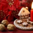 Gingerbread candlestick and Christmas decorations — Stock Photo #29364611