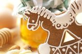Gingerbread cookie, honey, eggs,almonds and flour. — Stock Photo