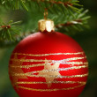 Red ornament with on Christmas tree. — Stock Photo