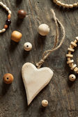 Wooden beads and accessories — Stock Photo