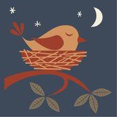 Cute bird sleeping in a nest. — Stock Vector