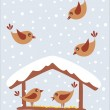 Stock Vector: Cute birds winter