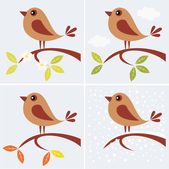 Tree branch and cute bird — Stock Vector