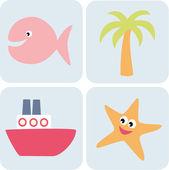 Enkla havsdjur — Stockvektor