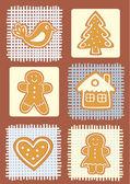 Christmas gingerbread cookies. — Stock Vector