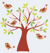 Spring tree with cute birds — Stock Vector
