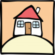 Stock Vector: Cute house on the hill