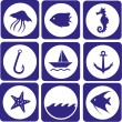 Sea animal and fishing icons — Stock Vector