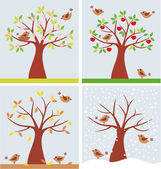 Tree and cute birds — Stock Vector