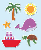 Summer and holiday symbols — Vector de stock