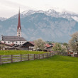 Small town on the background of mountains — Stock Photo