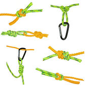 Knots and carabiners, set — Stock Photo