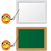 Blackboard and slat board with teacher — Stock Vector