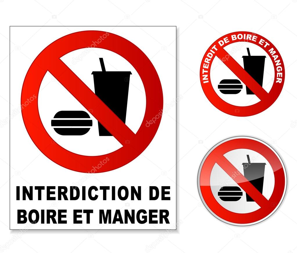 Plaque interdit manger et boire stock vector nickylarson 28930063 - Logo interdiction de fumer ...