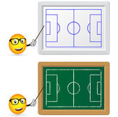 Blackboard and slat board with football teacher — Stock Vector