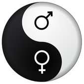Yin Yang male female — Stock Vector