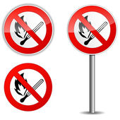 Flame prohibited sign — Stock Vector