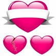 Three pink hearts — Stock Vector