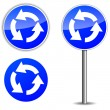 Vector roundabout blue signpost — Stock Vector