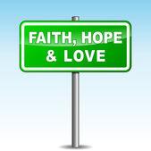 Vector faith, hope and love signpost — Stock Vector