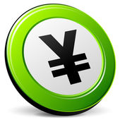 Vector green yen icon — Stock Vector