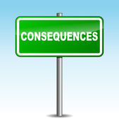 Vector consequences signpost — Stock Vector