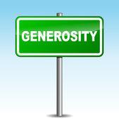 Vetor generosity signpost — Stock Vector