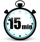 Fifteen minutes stopwatch — Stock Vector