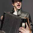 Man with accordion.  — Stock Photo