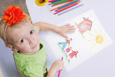 Children drawings. Cute child draw with colorful crayons — Stock Photo