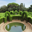 park labyrinth in barcelona spain, catalonia. small fountain. — Stock Photo