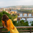 Young woman in bright Indian style clothes travel in Europe,Prague — Stock Photo