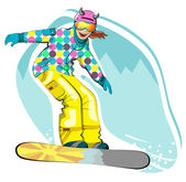 Lovely happy snowboarder — Stock Vector