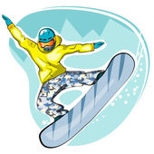 Vector illustration of cool snowboarder jumping — Stock Vector