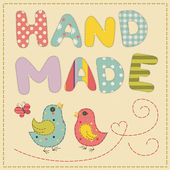 Applique couple birdies sewn stitches thread — Vector de stock