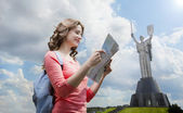 Tourist walking in Kiev the capital of Ukraine — Stock Photo