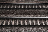 Double railway track with texture gravel — Stock Photo