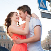 Happy young couple at the date — Stock Photo