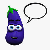 Fanny eggplant with bubble — Stock Photo