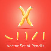 Set of Pencils. Vector Illustration. — 图库矢量图片
