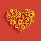 Heart as a mechanism made ​​of cogs and gears. — 图库矢量图片