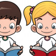 Cartoon boy and girl reading a book — 图库矢量图片