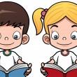 çizgi film çocuk ve kız kitap okuma — Stok Vektör