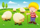 Little shepherd — Stock Vector