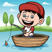 Boy fishing in a boat — Stock Vector