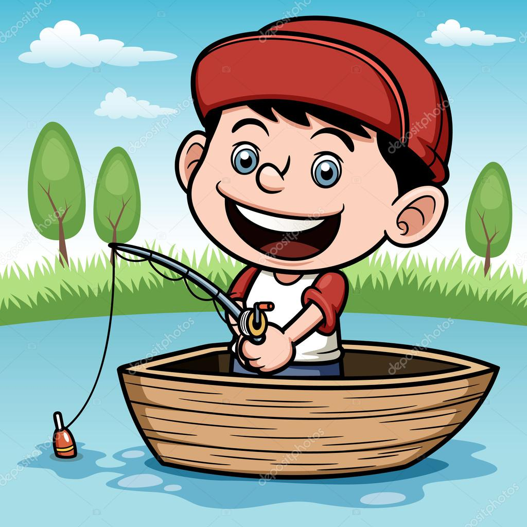 Boy fishing in a boat — Stock Vector © sararoom #28684377