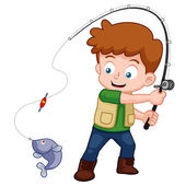 Cartoon Boy fishing — Stock Vector