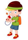Cartoon boy with toy gun — Stock Vector