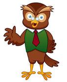 Cartoon Professor Owl — Stock Vector