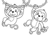 Cartoon Monkeys — Stock Vector